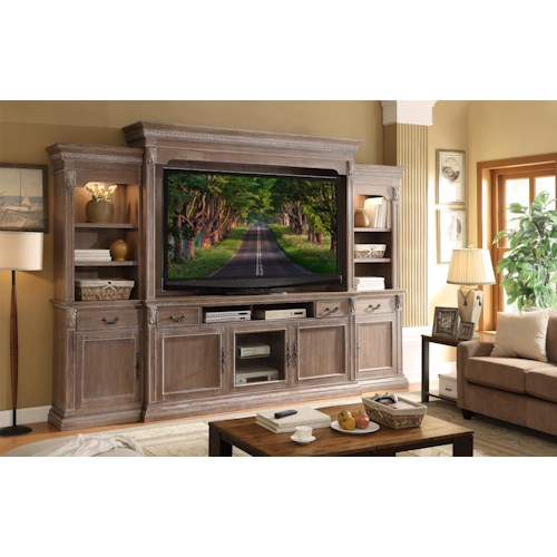 Legends Furniture Estancia Collection Traditional Entertainment Wall with Acanthus Leaves and Crown Molding