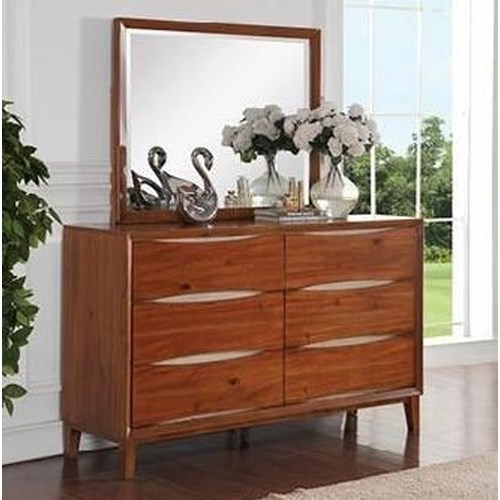 Legends Furniture Evo 6 Drawer Dresser and Mirror with Wood Frame
