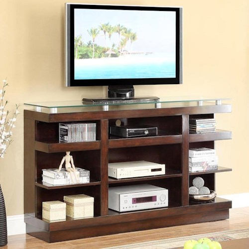 Vendor 1356 Novella 9-Shelf TV Stand with Glass Top