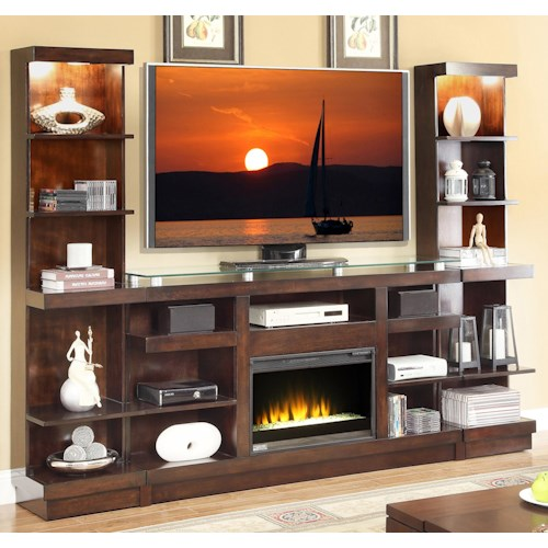 Vendor 1356 Novella Entertainment Center with Fireplace and Bookcase Piers