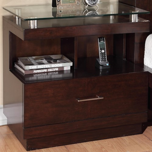 Legends Furniture Novella Nightstand with 1 Drawer and 1 Open Shelf