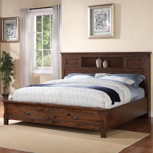Vendor 1356 Restoration Rustic California King Bed with 2 Drawer Storage Footboard
