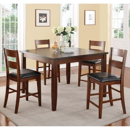 Vendor 1356 Rockport 5 Piece Counter Height Table with Stain Resistant Top & Chair Set