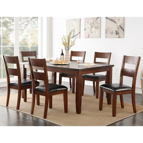 Vendor 1356 Rockport 7 Piece Table with Stain Resistant Top & Chair Set