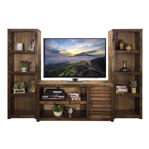 Legends Furniture Sausalito Collection Casual Entertainment Wall with Carved Stripes