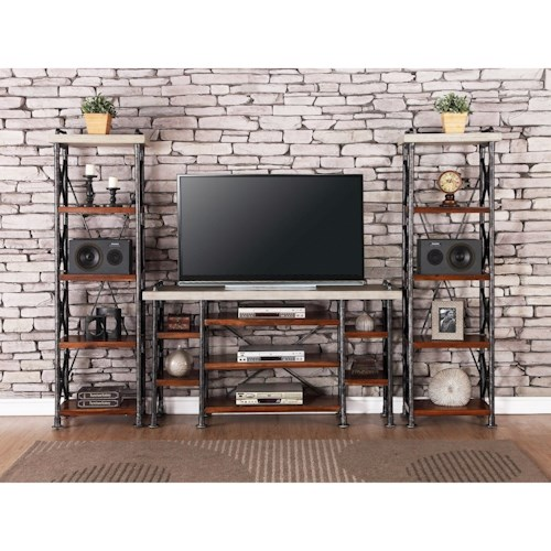 Vendor 1356 Steampunk Collection Industrial Entertainment Center with 15 Shelves