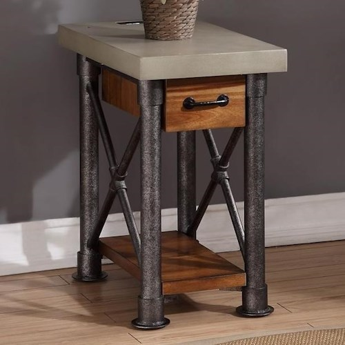 Legends Furniture Steampunk Collection Steampunk Side Table with Drawer