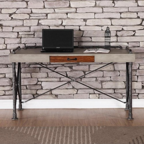 Legends Furniture Steampunk Collection Steampunk Writing Desk with Faux Concrete Top