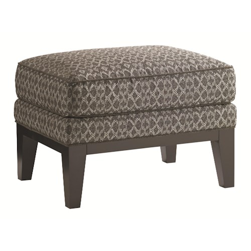 Lexington Carrera Giovanni Ottoman with Exposed Wood Base