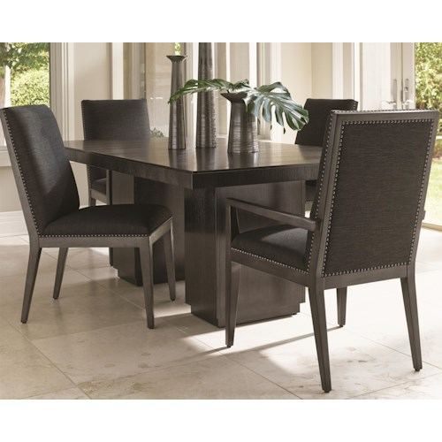 Lexington Carrera Modena Five Piece Dining Set with Quickship Chairs in Gray Mist Fabric