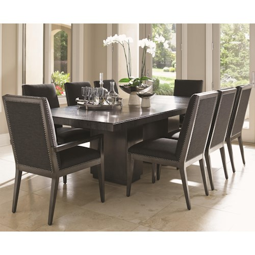 Lexington Carrera Modena Nine Piece Dining Set with Quickship Chairs in Gray Mist Fabric