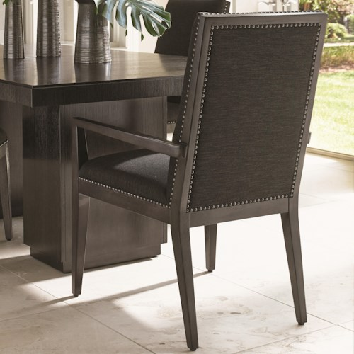 Lexington Carrera Vantage Quickship Upholstered Arm Chair with Gray Mist Fabric and Nailhead Studs