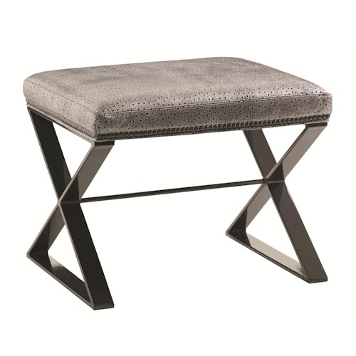 Lexington Carrera Lola Bench with Contemporary Metal Base and Embossed Ostrich Leather