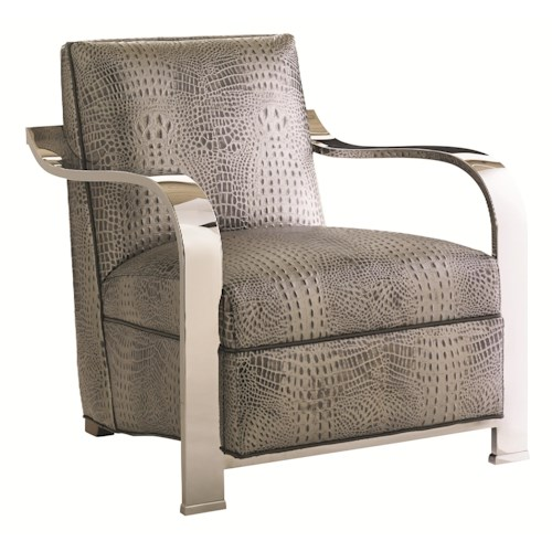 Lexington Carrera Contemporary Kenilworth Chair with Sculptural Stainless Steel Arms and Embossed Croc Leather