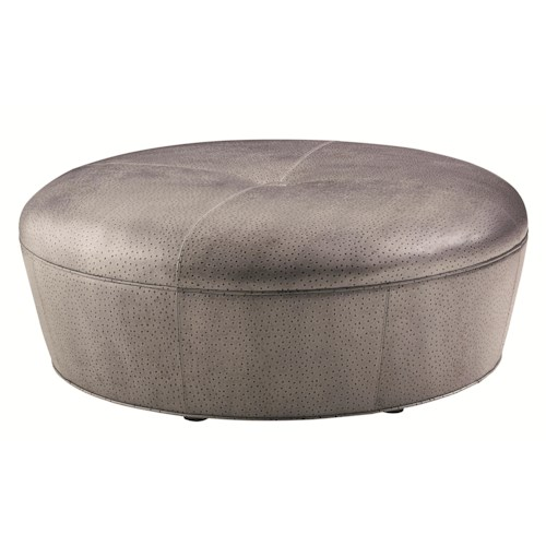 Lexington Carrera Claudia Round Cocktail Ottoman with Button Tuft Detailing and Embossed Ostrich Upholstery