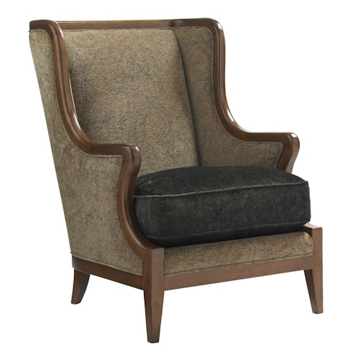 Lexington Coventry Hills Baylor Two-Tone Wing Chair with Exposed Wood Frame