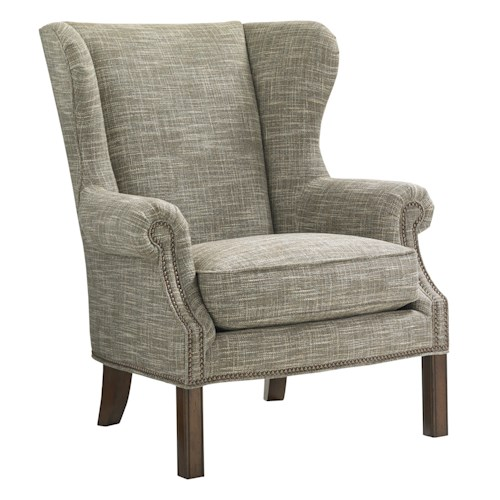 Lexington Coventry Hills Logan Transitional Wing Chair with Nailhead Trim