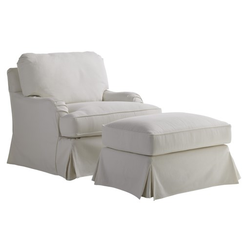 Lexington Coventry Hills Stowe Slipcover Chair and Ottoman with English Arms