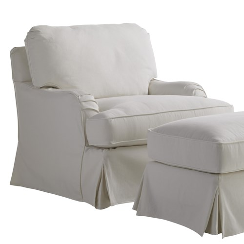 Lexington Coventry Hills Stowe Slipcover Swivel Chair with English Arms