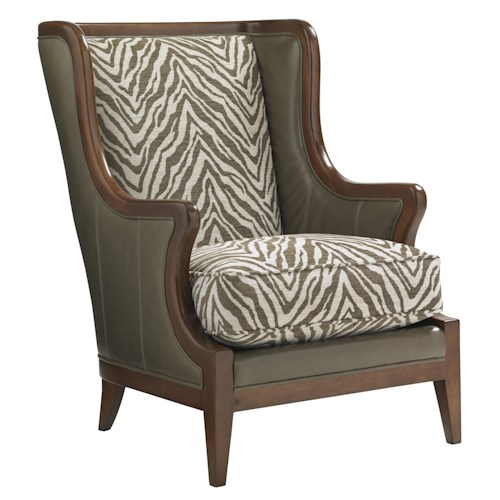 Lexington Coventry Hills Baylor Customizable Wing Chair with Exposed Wood Frame