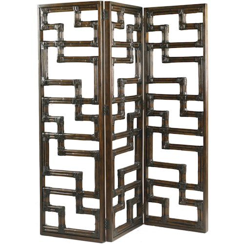 Lexington Henry Link Trading Co Kilimanjaro Three-Panel Hinged Leather-Wrapped Rattan Wall Screen