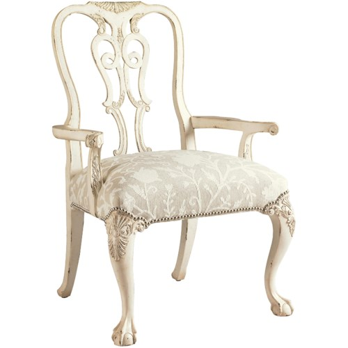 Lexington Henry Link Trading Co Oxford Square Queen Anne Dining Arm Chair with Ball-and-Claw Feet in White Scale Finish