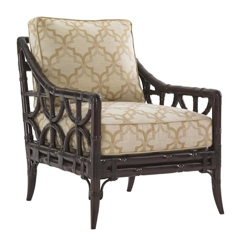 Lexington Kensington Place Eldridge Accent Chair with Leather-Wrapped Rattan Frame