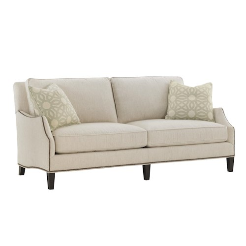 Lexington Kensington Place Transitional Ashton Demi Sofa with Flared Arms and Nailheads