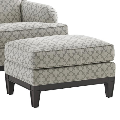 Lexington Kensington Place Transitional Aubrey Ottoman with Exposed Wood Base
