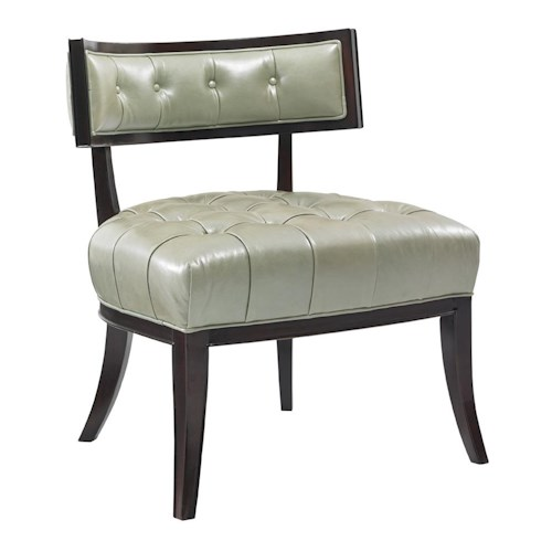 Lexington Kensington Place Transitional Elaine Accent Chair with Button-Tufting and Exposed Wood Trim