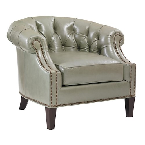 Lexington Kensington Place Transitional Kendrick Button-Tufted Club Chair with Nailheads