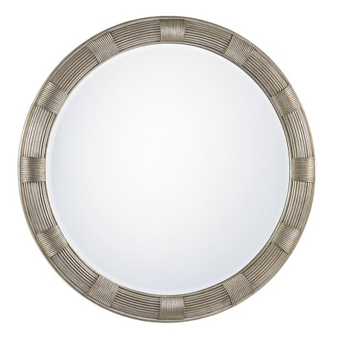 Lexington LAUREL CANYON Beverly Round Mirror with Hand-Burnsihed Silver Leaf Finish