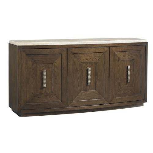 Lexington LAUREL CANYON Mariposa Buffet with Silverware Storage and Travertine Top