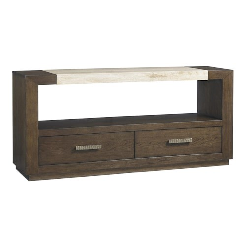 Lexington LAUREL CANYON Estrada Dining Console with Travertine Top and Open Display Space