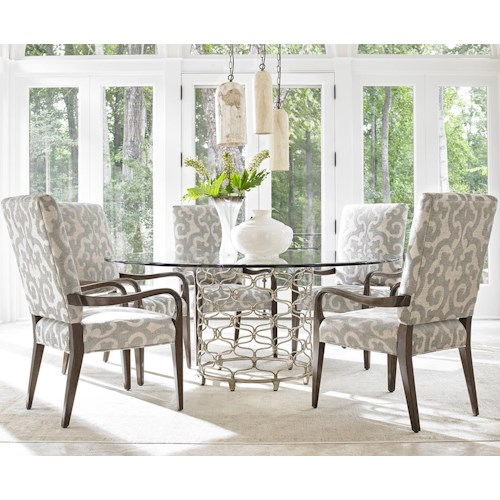 Lexington LAUREL CANYON Six Piece Dining Set with Bollinger Table and Sierra Customizable Chairs