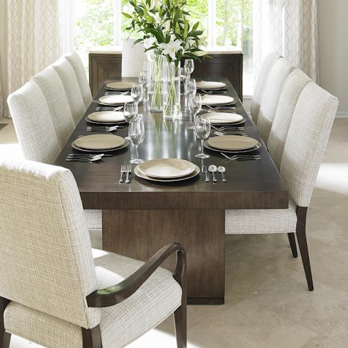 Lexington LAUREL CANYON Eleven Piece Dining Set with San Lorenzo Table and Married Fabric Sierra Chairs