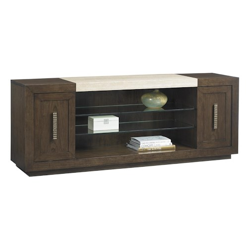 Lexington LAUREL CANYON Malibu Vista Media Console with Travertine Top and Adjustable Glass Display Shelves
