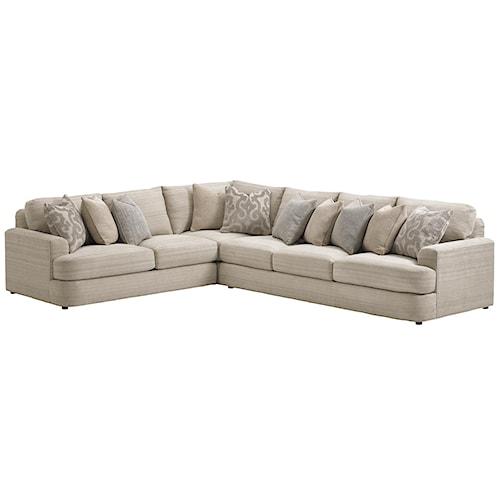 Lexington LAUREL CANYON Halandale Three Piece Sectional Sofa with Toss Pillows