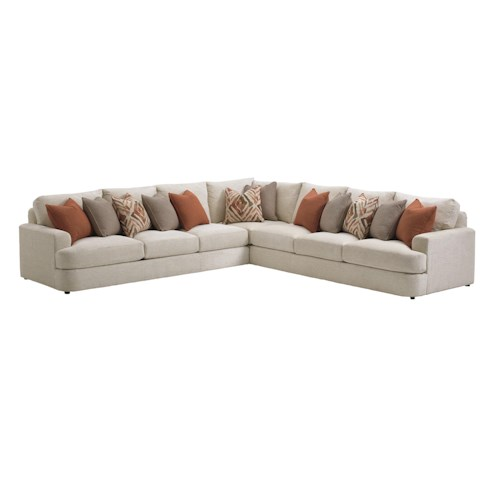 Lexington LAUREL CANYON Halandale Three Piece Sectional Sofa with Toss Pillows