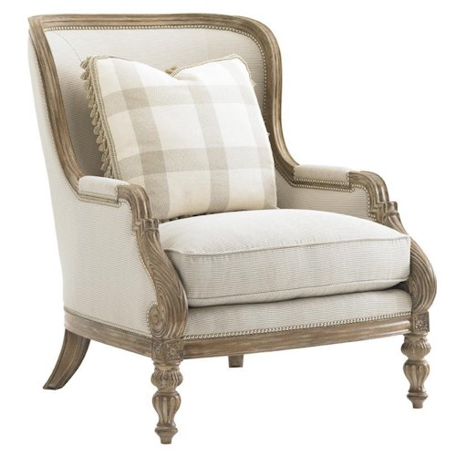Lexington Lexington Upholstery Elise Chair with Rounded Back and Turned Scallop Legs