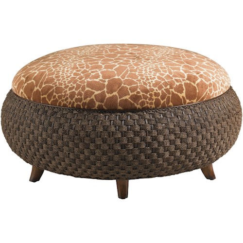 Lexington Lexington Upholstery Round Kenya Cocktail Ottoman with Giraffe Patterned Printed Velvet & Woven Rattan