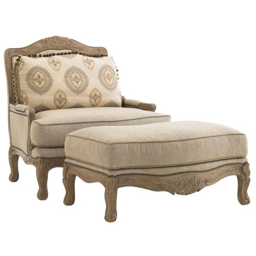 Lexington Lexington Upholstery Beauvais Chair & Ottoman with S-Curved Legs