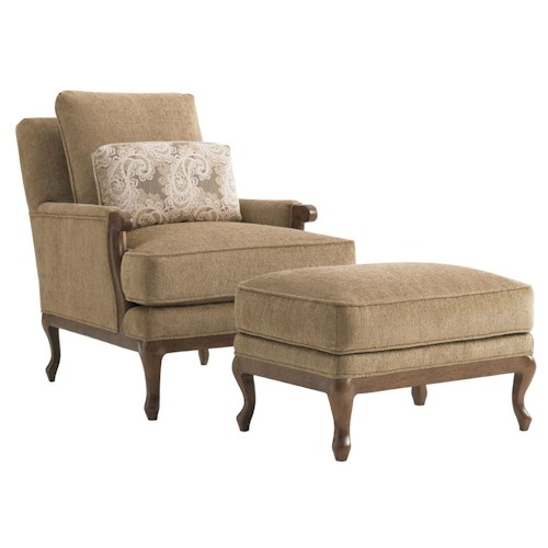Lexington Lexington Upholstery Kenton Exposed Wood Chair & Ottoman Set