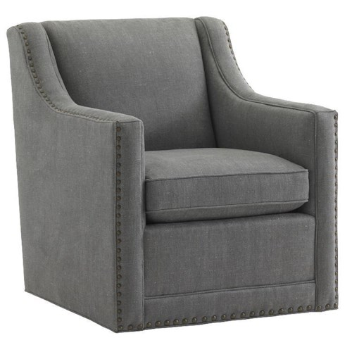 Lexington Lexington Upholstery Barrier Swivel Chair with Nailhead Trim