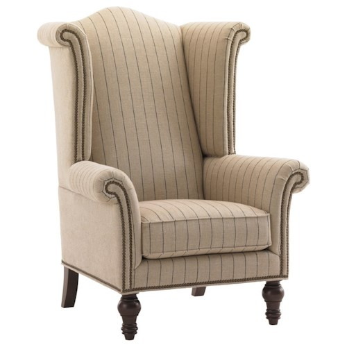 Lexington Lexington Upholstery Customizable Fabric-Upholstered Kings Row Traditional Wing Chair with Old Brass Nailhead Trim