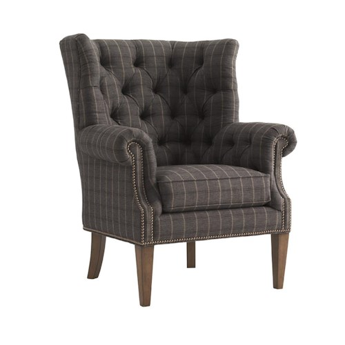 Lexington Lexington Upholstery Suffolk Button Tufted Wing Chair with Rolled Arms & Wood Legs
