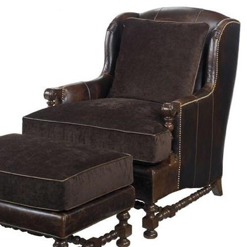 Lexington Lexington Leather Bradbury Chair with Wing Back and Turned Legs