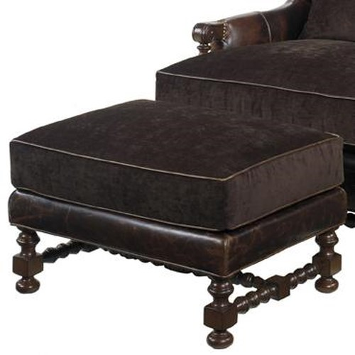 Lexington Lexington Leather Bradbury Ottoman with Spool Turned Legs