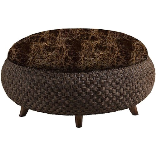 Lexington Lexington Leather Customizable Kenya Leather-Upholstered Cocktail Ottoman with Woven Rattan Base