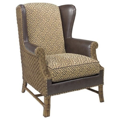 Lexington Lexington Leather Customizable Sanctuary Leather-Upholstered Wing Chair with Woven Rattan Back & Sides